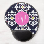 "Ikat &amp; Pink Monogram Gel Mouse Pad<br><div class=""desc"">A gift featuring a dark blue and white ikat design.  Personalize with your monogram on pink circle.</div>"