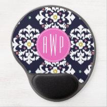 Ikat & Pink Monogram Gel Mouse Pad