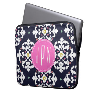 Ikat & Pink Monogram Computer Sleeves