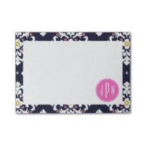 Ikat & Pink Monogram Post-it Notes