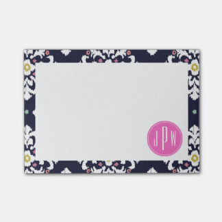 Ikat & Pink Monogram Post-it Notes