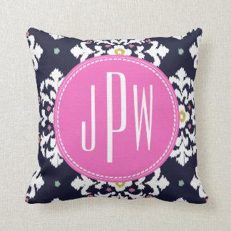 Ikat & Pink Monogram Throw Pillow