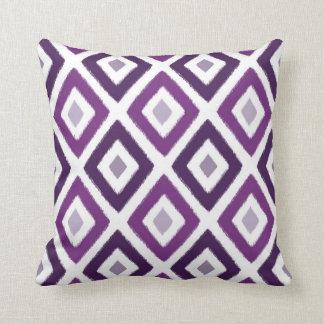 ikat purple diamond pattern throw pillow