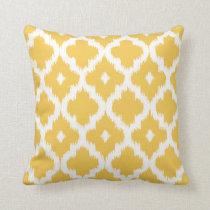 Ikat Quatrefoil Pattern Golden Yellow Throw Pillow