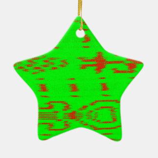 Ikat rojo y verde adorno navideño de cerámica en forma de estrella