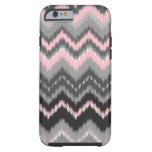 Ikat rosado y gris Chevron Funda De iPhone 6 Tough