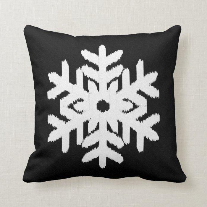 Ikat Snowflake - Black and white Throw Pillow Zazzle