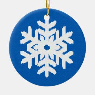 Ikat Snowflake - Cobalt blue and white Ceramic Ornament