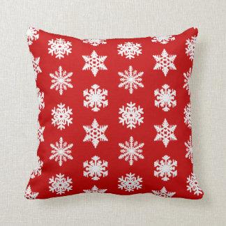 Ikat Snowflake - Dark red and white Throw Pillow