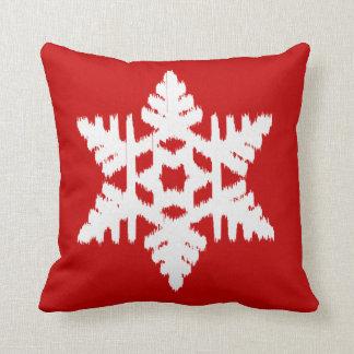 Ikat Snowflake - Dark red and white Pillows