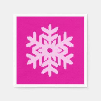 Ikat Snowflake - Fuchsia and ice pink Disposable Napkins
