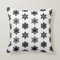 Ikat Snowflake - White and black Pillow