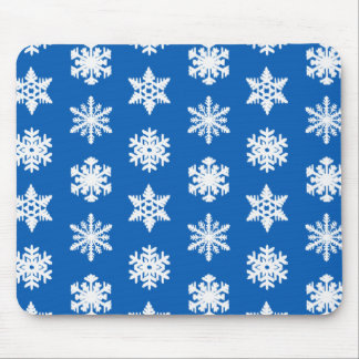 Ikat Snowflakes - Cobalt blue and white Mouse Pad