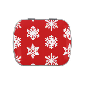 Ikat Snowflakes - Dark red and white Jelly Belly Tin