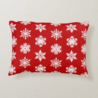 Ikat Snowflakes - Dark red and white Accent Pillow