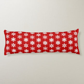 Ikat Snowflakes - Dark red and white Body Pillow
