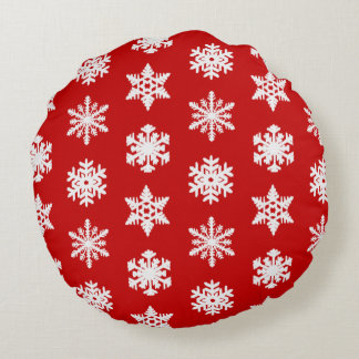 Ikat Snowflakes - Dark red and white Round Pillow