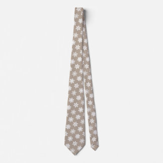 Ikat Snowflakes - Taupe tan and white Tie