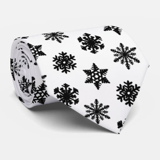 Ikat Snowflakes - White and black Tie