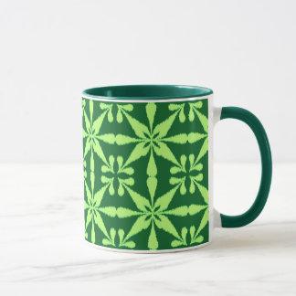 Ikat Star Pattern - Dark Green Mug