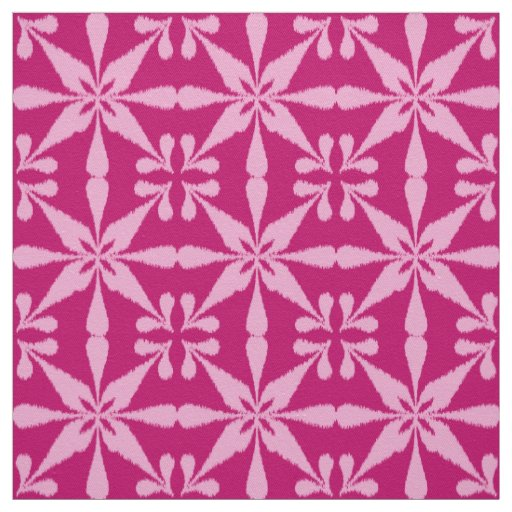 Ikat star pattern fuchsia pink fabric zazzle for Star design fabric