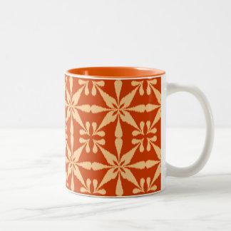 Ikat Star Pattern - Mandarin Orange Two-Tone Coffee Mug