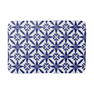 Ikat Star Pattern - Navy Blue and White Bath Mat