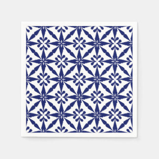 Ikat Star Pattern - Navy Blue and White Napkin