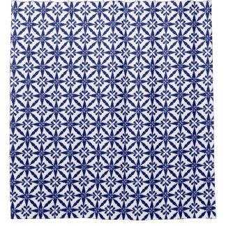Ikat Star Pattern   Navy Blue And White Shower Curtain