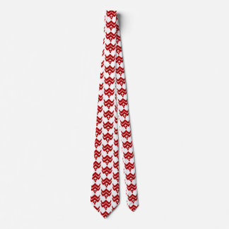 Ikat stylized floral - dark red and white tie