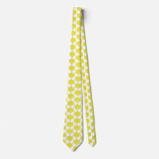 Ikat stylized floral - mustard gold and white tie