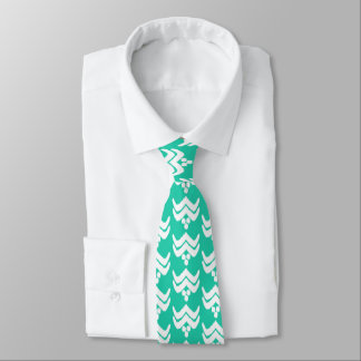 Ikat stylized floral - turquoise and white neck tie