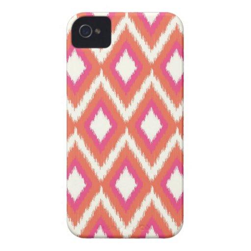 Ikat tribal coralino y rosado Chevron iPhone 4 Case-Mate Fundas