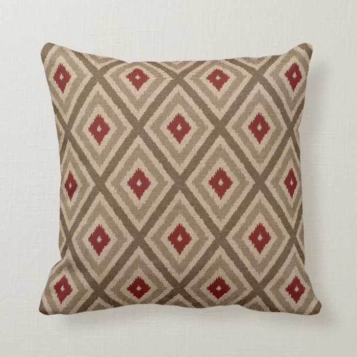 Ikat Design Throw Pillows : Ikat Tribal Diamond Pattern Khaki Red Tan Throw Pillow Zazzle