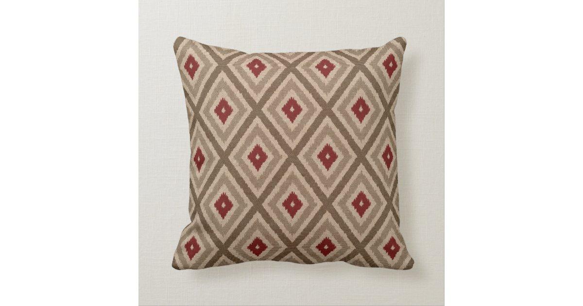 Red And Tan Decorative Pillows : Ikat Tribal Diamond Pattern Khaki Red Tan Throw Pillow Zazzle