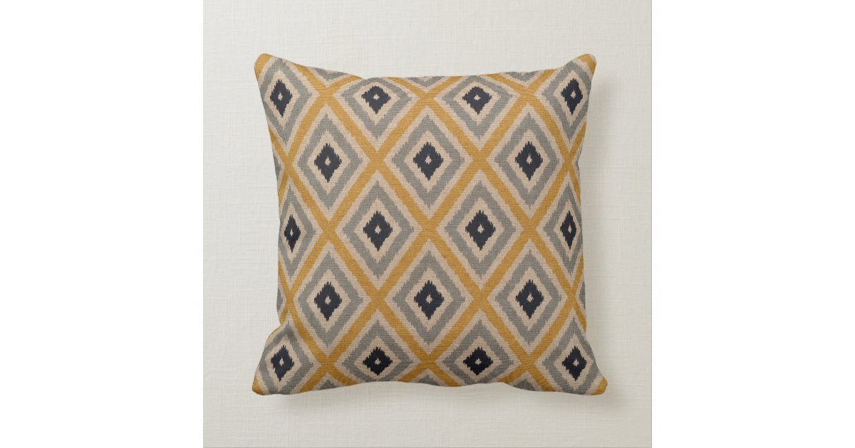 Ikat Design Throw Pillows : Ikat Tribal Diamond Pattern Yellow Blue Brown Throw Pillow Zazzle