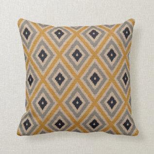Ikat Tribal Diamond Pattern Yellow Blue Brown Throw Pillow at Zazzle