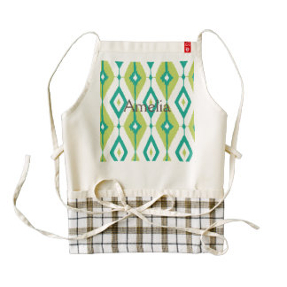 Ikat,tribal,green,teal,white,chevron,zig zag,girly zazzle HEART apron