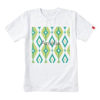 Ikat,tribal,green,teal,white,chevron,zig zag,girly zazzle HEART T-Shirt