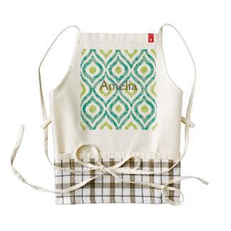 Ikat,tribal,green,yellow,white,trendy,pattern,cute Zazzle HEART Apron