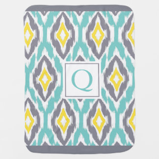 Ikat Tribal Monogram aqua yellow gray Baby Blanket
