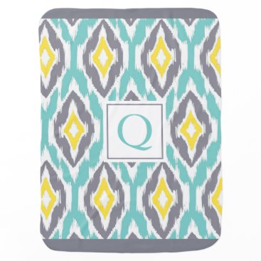 Aztec Themed Ikat Tribal Monogram aqua yellow gray Baby Blanket