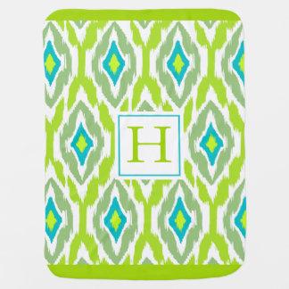 Ikat Tribal Monogram lime green teal Stroller Blanket