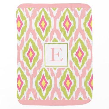 Aztec Themed Ikat Tribal Monogram pink lime mauve Stroller Blanket