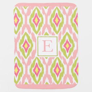 Ikat Tribal Monogram pink lime mauve Swaddle Blankets