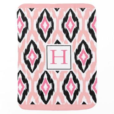 Aztec Themed Ikat Tribal Monogram pink mauve black Stroller Blanket