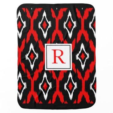 Aztec Themed Ikat Tribal Monogram red black white Stroller Blanket