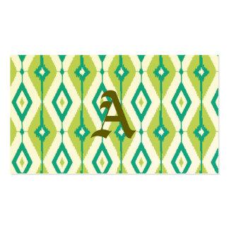 Ikat, tribal, verde, trullo, blanco, galón, tarjetas de visita