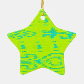 Ikat verde y amarillo adorno navideño de cerámica en forma de estrella