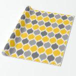 Ikat Weave Motif Yellow and Grey Gift Wrap